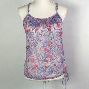American Eagle purple floral sheer camisole